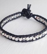 Wraparmband svart & silver